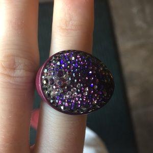 Swarovski Purple Wooden Cluster Ring